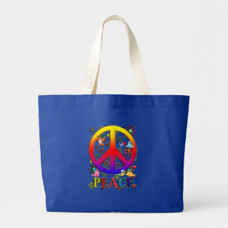 Modern Retro Peace Sign Text Birds & Flowers II Jumbo Tote Bag