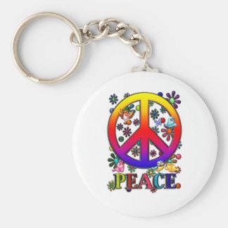 Modern Retro Peace Sign Text Birds Flowers II Key Chain