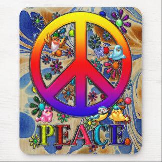 Modern Retro Peace Sign Text Birds & Flowers II Mouse Mat