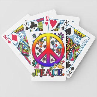 Modern Retro Peace Sign Text Birds & Flowers II Poker Cards