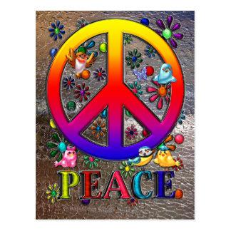 Modern Retro Peace Sign Text Birds & Flowers II Postcard