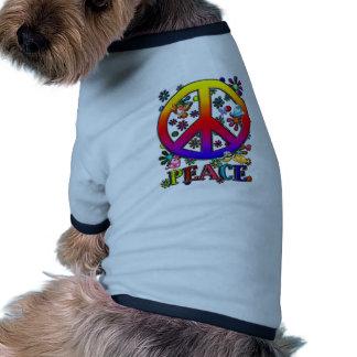 Modern Retro Peace Sign Text Birds & Flowers II Ringer Dog Shirt
