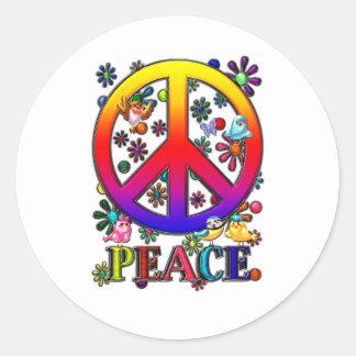 Modern Retro Peace Sign Text Birds & Flowers II Round Sticker