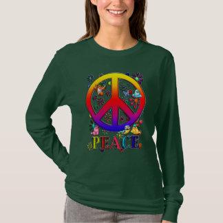 Modern Retro Peace Sign Text Birds & Flowers II T-Shirt