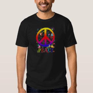 Modern Retro Peace Sign Text Birds & Flowers II Tee Shirt