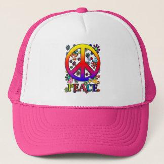 Modern Retro Peace Sign Text Birds & Flowers II Trucker Hat
