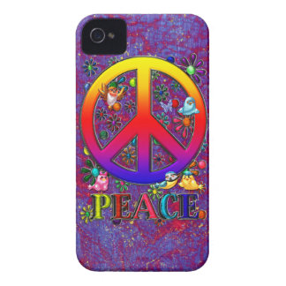 Modern Retro Peace Sign Text Birds & Flowers iPhone 4 Cover