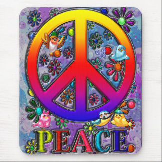 Modern Retro Peace Sign Text Birds & Flowers Mouse Pad