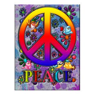 Modern Retro Peace Sign Text Birds & Flowers Postcard