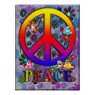 Modern Retro Peace Sign Text Birds & Flowers Poster