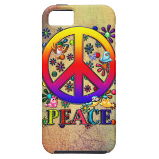 Modern Retro Peace Sign Text Birds & Flowers Tough iPhone 5 Case