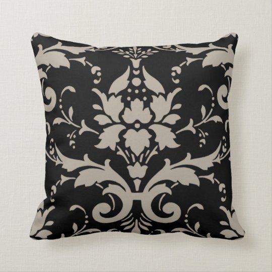 Modern Retro Silver Grey Damask on Black Pillow
