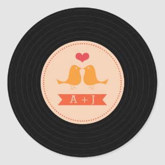 Modern Retro Vinyl Record Love Birds Blush Classic Round Sticker