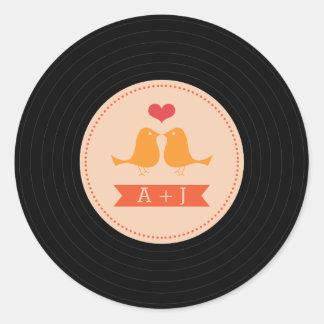 Modern Retro Vinyl Record Love Birds Blush Round Sticker