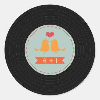 Modern Retro Vinyl Record Love Birds Sky Blue Round Sticker