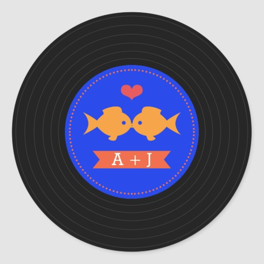 Modern Retro Vinyl Record Nautical Classic Round Sticker