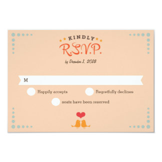 Modern Retro Vinyl Record Orange Sky Blue RSVP Card