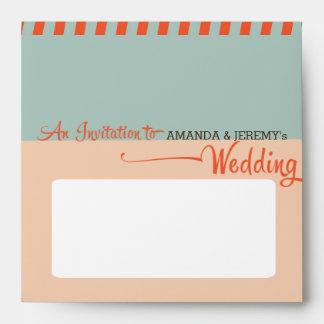 Modern Retro Vinyl Record Orange Sky Blue Wedding Envelopes