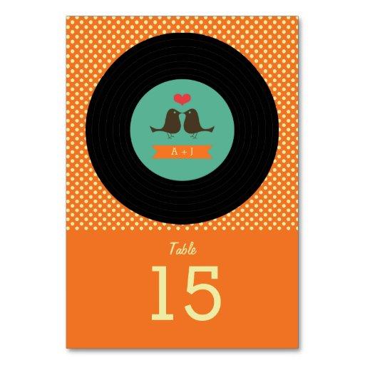 Modern Retro Vinyl Record Orange Wedding Table Cards