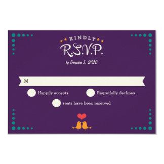 Modern Retro Vinyl Record Purple Aqua RSVP 9 Cm X 13 Cm Invitation Card