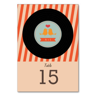 Modern Retro Vinyl Record Sky Blue Orange Wedding Table Cards