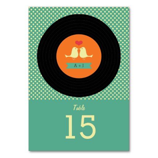 Modern Retro Vinyl Record Teal Wedding Table Cards