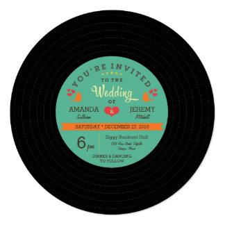 Modern Retro Vinyl Record Wedding 13 Cm X 13 Cm Square Invitation Card