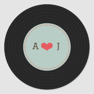 Modern Retro Vinyl Record Wedding Blue Envelope Round Sticker