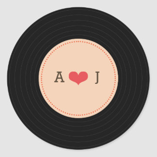 Modern Retro Vinyl Record Wedding Blush Envelope Classic Round Sticker