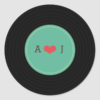 Modern Retro Vinyl Record Wedding Classic Round Sticker