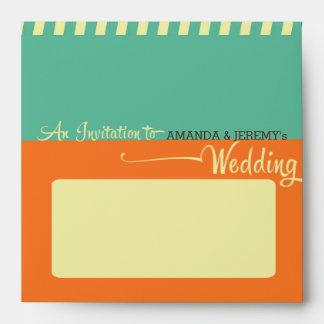 Modern Retro Vinyl Record Wedding Envelope