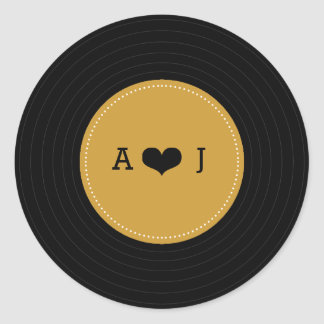 Modern Retro Vinyl Record Wedding (Gold / Black) Round Sticker