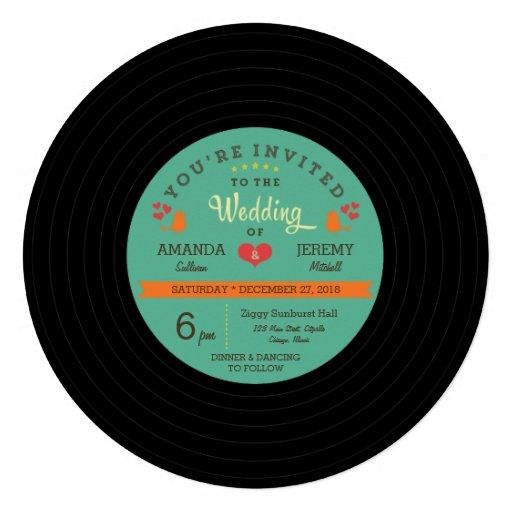 Modern Retro Vinyl Record Wedding Personalized Invitations