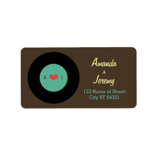 Modern Retro Vinyl Record Wedding Address Label