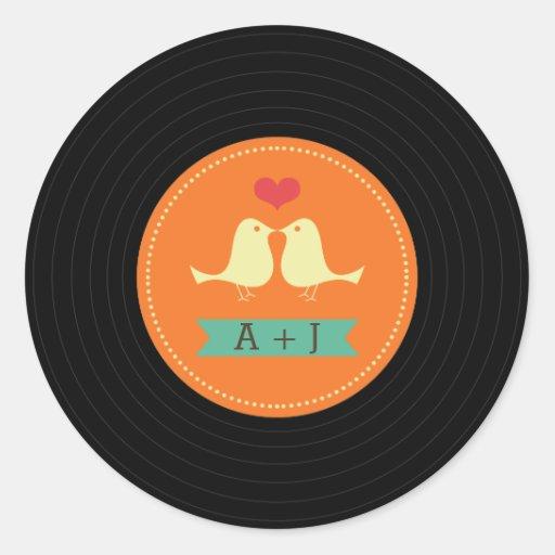 Modern Retro Vinyl Record Wedding Orange Round Sticker