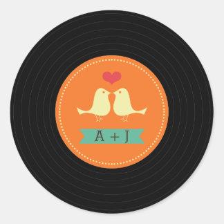 Modern Retro Vinyl Record Wedding Round Sticker