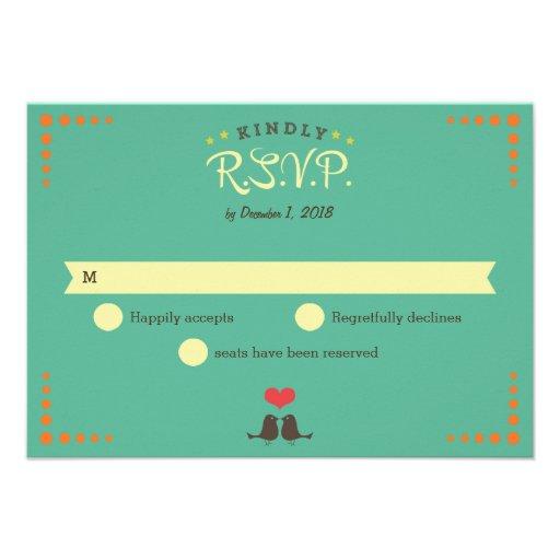 Modern Retro Vinyl Record Wedding RSVP Personalized Announcements