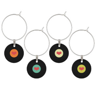 Modern Retro Vinyl Record Wedding Wine Charm