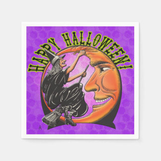 Modern Retro Witch and Moon on Violet Polka Dots Disposable Napkins