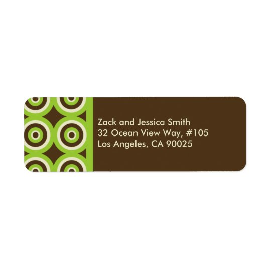 Modern Return Address Label Green & Brown