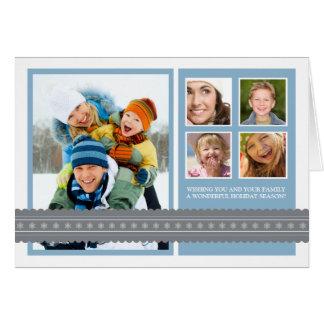 Modern Ribbon Custom Family Holiday Card blue