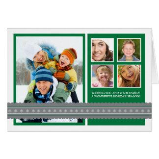 Modern Ribbon Custom Family Holiday Card green