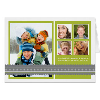 Modern Ribbon Custom Family Holiday Card lime