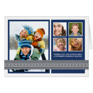 Modern Ribbon Custom Family Holiday Card navy