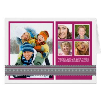 Modern Ribbon Custom Family Holiday Card violet