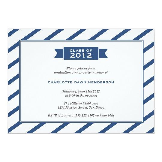 Modern ribbon navy stripe graduation invitation