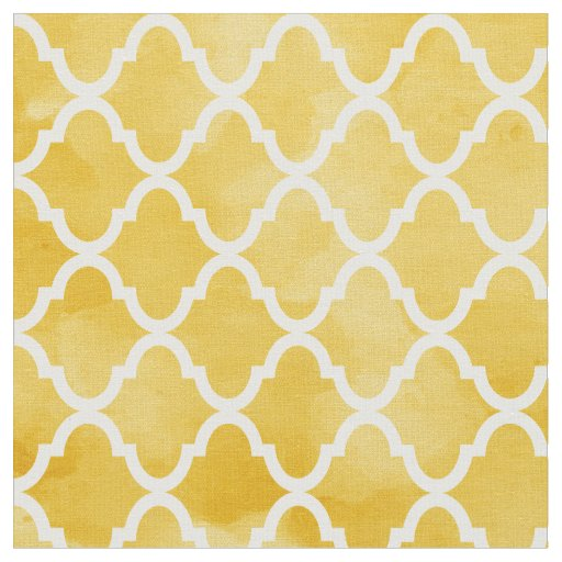 Modern Rich Yellow Watercolor Quatrefoil Pattern Fabric