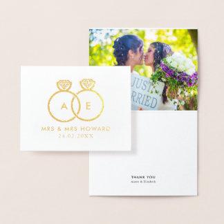 Modern Rings Gay Wedding Custom Photo Thank You Foil Card