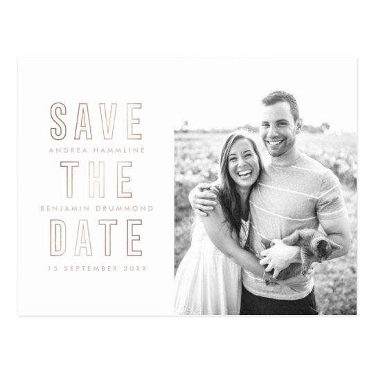 Modern Rings Rose Gold Save the Date Postcard