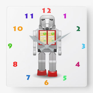MODERN ROBOT TOY WITH COLORFUL NUMERALS SQUARE WALL CLOCK
